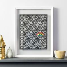 A wonderfully whimsical large colour pop rainbow papercut is just the thing to add a stylish monochrome interest to your walls, with just a little pop of rainbow colour.It also makes a fantastic new baby gift to celebrate their arri. Monochrome Bedroom, Rainbow Nursery, Black Paper, Floating Frame, Colored Paper, Color Pop, Colour, New Baby Gifts, Rainbow Colors