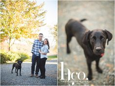 Vermont engagement session, Couple in love, What to wear for my engagement session, Future Mr & Mrs, Rustic wedding, Rustic wedding in Vermont, Engagement photos by river, Wedding photographer, Bride & Groom, Dog with Bride and Groom, Black Lab, Outdoor engagement session, Engagement session in fall, Photo by The Harris Company