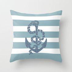 Nautical Stripes Anchor Throw Pillow