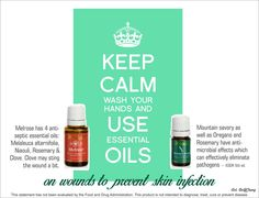 Essential oils for wounds, to prevent skin infections