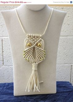 Luck of the Irish Sale Macrame Owl Necklace (gold sparkle). $13,46, via Etsy.
