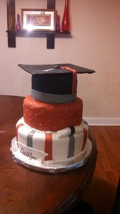 Red and gray graduation cake!!