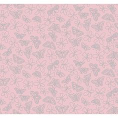 York Wallcoverings Pink & Purple Glitter Butterfly Wallpaper in Light Pink