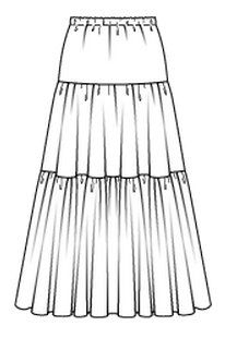 Sewing Skirts Free Burda pattern and instructions for tiered maxi skirt - View details for the project Tiered Maxi Skirt on BurdaStyle. Burda Patterns, Sewing Patterns Free, Clothing Patterns, Dress Patterns, Pattern Sewing, Coat Patterns, Sewing Clothes, Diy Clothes, Sewing Coat