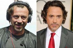 Benny Benassi and Robert Downey Jr. Benny Benassi, Celebrity Look Alike, Downey Junior, Robert Downey Jr, Celebs, Celebrities, Fictional Characters, Rober Downey Jr, Celebrity