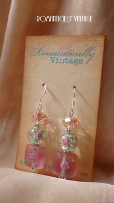 Romantic Floral Garden Earrings Beaded Pink by RomanticallyVintage, $16.50