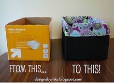 Diaper box up-do...wish I had this idea when my kids were babies because I had a ton of boxes! Young Mommy friends, wanna share (extra boxes...not babies)?