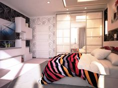 Interior Design, Bedroom White Desk Table Wall Cabinet Door Sheet Patted Draw Curtain Wall Pillow Cream Wooden Floor Led Tv 72 Inch Assorted Color Blanket And Glass Walk In Closed ~ Comfortable Home Interior Design: Decorate Your Ceiling with Lighting
