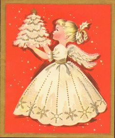 Vintage Christmas Card:   White angel holding a Christmas tree