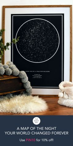 "Was it your first kiss, the birth of a child or that moment you realized your world had changed forever. Give a gift of the stars to always remember that special night. Create an 18""x 24"" star map of the night your heart skipped a beat. Printed on the finest Art Matte paper using archival ink. This wall art is of the highest quality. **Discount valid until Oct 31, 2017."