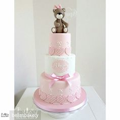 Button Cake, Silhouette Cake, Cupcake Cakes, Cupcakes, Teddy Bear Cakes, Fondant, 3rd Birthday, Birthday Ideas, Girl Cakes