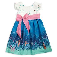 Night Fireflies White Birds Pink Dot Sash Dress