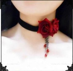 gothic necklace black lace black and red color two rose crystal tassels cosplay vampire chokers necklaces lolita fashion jewelry-in Choker Necklaces from Jewelry on Aliexpress.com
