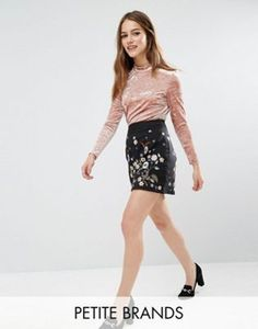 New Look Petite Embroidered A Line Mini Skirt
