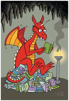 This one looks cute! Dragon reading books! LOL <3