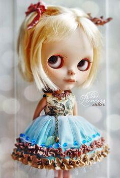 BLUE SUNBIRD Ooak Victorian BLYTHE Dress By Odd by oddprincess