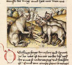 the king of the cats Antonius von Pforr, Buch der Beispiele, Swabia ca. 1475-1482 Universitätsbibliothek Heidelberg, Cod. Pal. germ. 84, fol. 227v