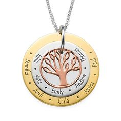 Multi-Tone Family Tree Necklace for Mums | MyNameNecklace