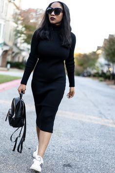 Turtle Neck Dress Outfit, Black Midi Dress Outfit, Black Turtleneck Dress, Dress And Sneakers Outfit, Cute Sneaker Outfits, Sweater Dress Outfit, Knit Dress, Winter Dress Outfits, Casual Dress Outfits