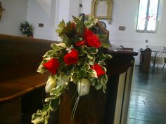 Red and white/cream pew ends at Holy Trinity Church Ramsgate Pew Ends, Holi, Flower Arrangements, Red And White, Cream, Flowers, Plants, Creme Caramel, Floral Arrangements