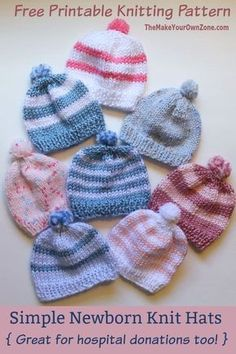 4108ec84358 Free Knitting Pattern - Quick Knit Newborn Baby Hat. Easy for beginners  too! Baby