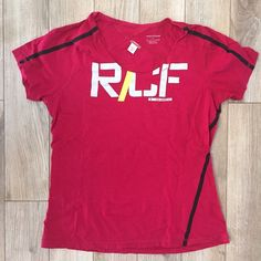 Reebok CrossFit t-shirt Reebok CrossFit red t-shirt with black piping - size large - worn one time - perfect condition  Reebok Tops Tees - Short Sleeve