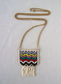 hand embroidered chevron necklace by rivulette