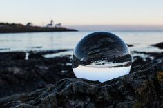 Clear Ball on Gray Rock  Free Stock Photo