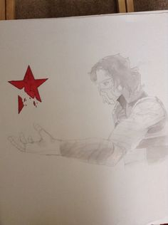 ~WIP~ In ap art class my teacher gave us the chance to do what ever we wanted for our art folder. I decided to do the drawing of Bucky and add more to it. This what it looks like so far. Tips and advice are welcome and some helpful criticism for painting since at this point I can't change lines