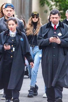 Gigi Hadid wearing Sandro Paris Miren Straight Cut Jeans and Dr. Martens Coralia Adjustable Strap Boot