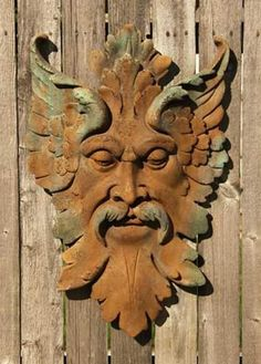 With its detailed expression, this Florentine Green Man Garden Wall Plaque will be a beautiful addition to any garden or patio. He looks serenely down evoking peace and calm over your garden sanctuary Wood Carving Faces, Wood Carving Art, Wood Art, Wood Carvings, Green Man, Tree Faces, Tuscan Design, Tuscan Decorating, Wood Sculpture