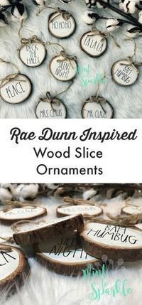 Rae Dunn Inspired Farmhouse Style Wood Slice Ornaments | These are adorable and would be so cute on my rustic Christmas tree #christmas #christmasdecor #ChristmasTree #christmasgifts #christmasornaments #raedunn #inspired #wood #farmhouse #rusticdecor #fa