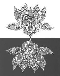 patterned lotus flower