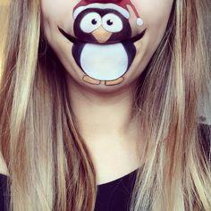 Christmas Penguin Mouth Makeup