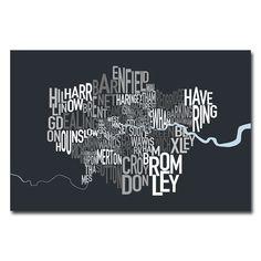 Michael Tompsett 'London Borough Text Map' Art