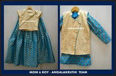 Mom n boy designs by Angalakruthi-Ladies and kids designer boutique in Bangalore and daughter matching dresses and son designs Mom And Son Outfits, Mom And Baby Dresses, Baby Boy Dress, Twin Outfits, Matching Family Outfits, Kids Outfits, Mother Daughter Dresses Matching, Mother Daughter Outfits, Mother Son