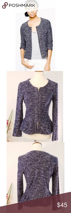 """J CREW Tweed Peplum Jacket Zip Front Navy Blue Size Small listed on Tag  Measurements armpit to armpit: 17"""" waist: 16"""" length from shoulder: 22 1/2""""  sleeve length: 22"""" J. Crew Jackets & Coats Blazers"""