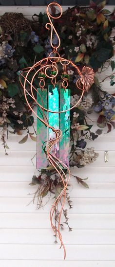 Secret Garden Wind Chimes Copper Glass by DragonflyDreams1 on Etsy