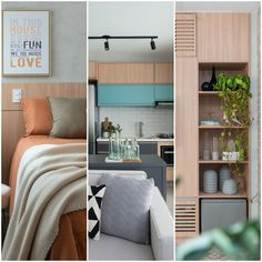 Apartamento de 41 m² com marcenaria bem planejada Entryway, Loft, Bed, Furniture, Design, House, Home Decor, Wood Patterns, Side Wall