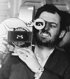 making2001:    Stanley Kubrick with the handheld 70mm Super Panavision camera, shooting the TMA-1 scene. That thing must've been a real beast.