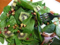Strawberry Kiwi Spinach Salad with Walnuts-just needs poppy seed dressing