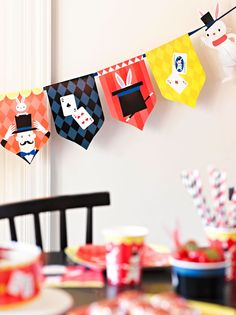 Looking for the perfect party decorations for a magic party theme? Try this magic-themed bunting - perfect for a magical kids' birthday party!