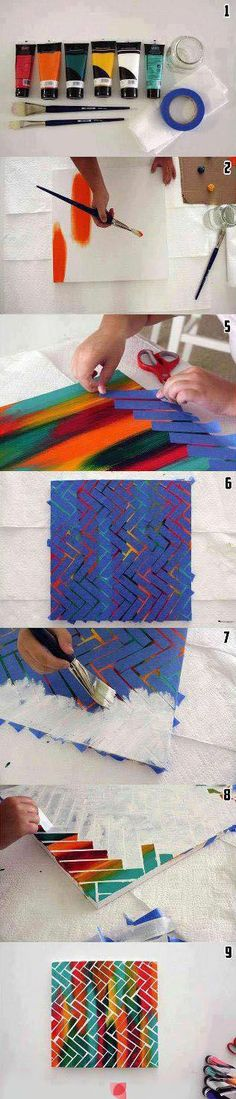 DIY Wall Art - Acrylic Paints, Painters' Tape and Canvas - Nice!