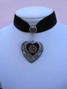 Victorian Red Heart Black Velvet Choker by kittygatotreats on Etsy, $18.00