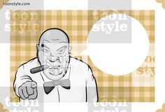 Greeting card with boss with a cigar – place your custom text
