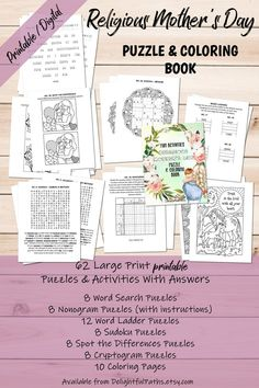 Printable Religious Mother's Day Puzzle & Coloring Book | Etsy Printable Puzzles, Printables, Brain Teasers For Adults, Logic Puzzles, Brain Health, Critical Thinking, Problem Solving, Coloring Books, Vintage Coloring Books
