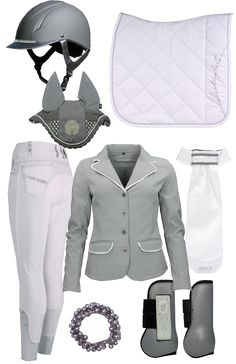 English Equestrian Fashion Riding Boots Breeches Helmet White Grey Cross Country Show Jumping Hunter Dressage