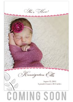 Whimsical baby girl birth announcement