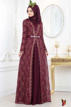 Dantelli Mürdüm Tesettür Abiye Elbise 2011MU - Neva-style.com NEVA STYLE - PLUM COLOR HIJAB EVENING DRESS 2011MU<br> Dress Brokat Muslim, Kebaya Muslim, Muslim Dress, Hijab Evening Dress, Hijab Dress Party, Evening Dresses, Dress Brukat, The Dress, Hijab Fashion