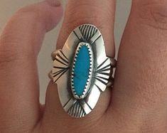 Size 7 3/4 - Turquoise Ring, Sterling silver, handmade, stamped turquoise ring, Arizona turquoise, navajo style, double band ring